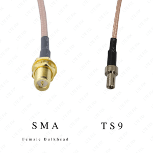 SMA Female Bulkhead Straight to TS-9 Male Adapter Pigtail - 6 inch