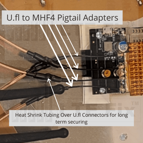 UFL to MHF4 Pigtail Adapter on 4x4 MIMO RJ Panel Antenna