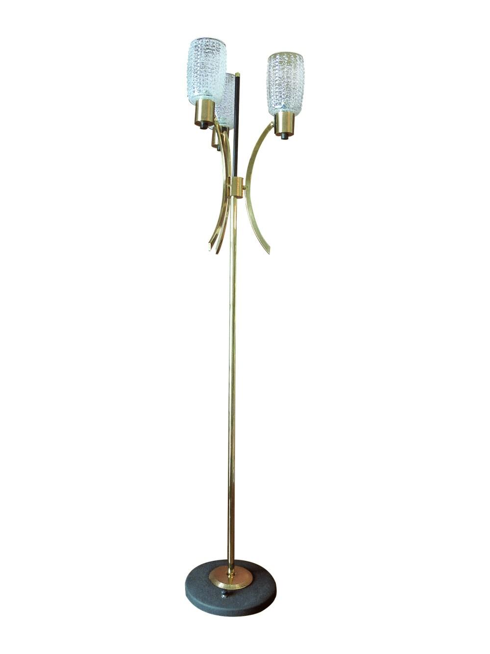 Lampadaire de la maison arlus, laiton et verre 1950 1950 en vente chez ltgmood.com luminaires vintage