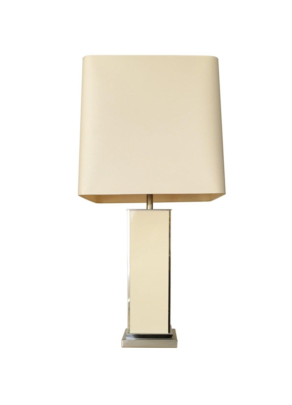 Lampe vintage laiton et laque blanche J.C Mahey 1970. Luminaires vintage ltgmood.com