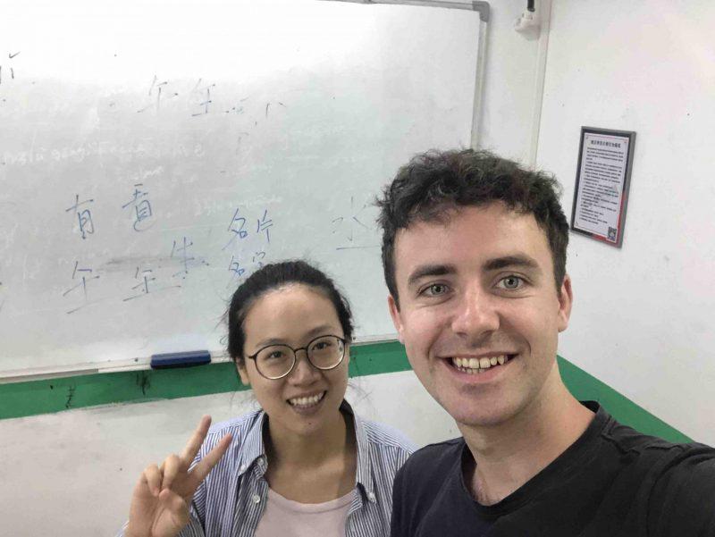 Chris studying Chinese in Beihai