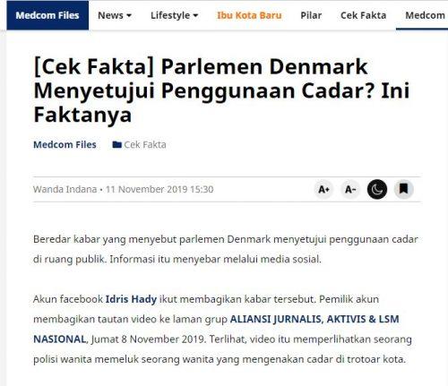 [SALAH] Parlemen Denmark Menyetujui Penggunaan Cadar