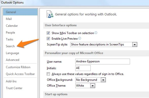 How Do I Set The Default Search Folder In Outlook 2013?