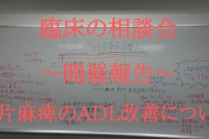 【臨床の相談会】活動報告 片麻痺のADL改善について