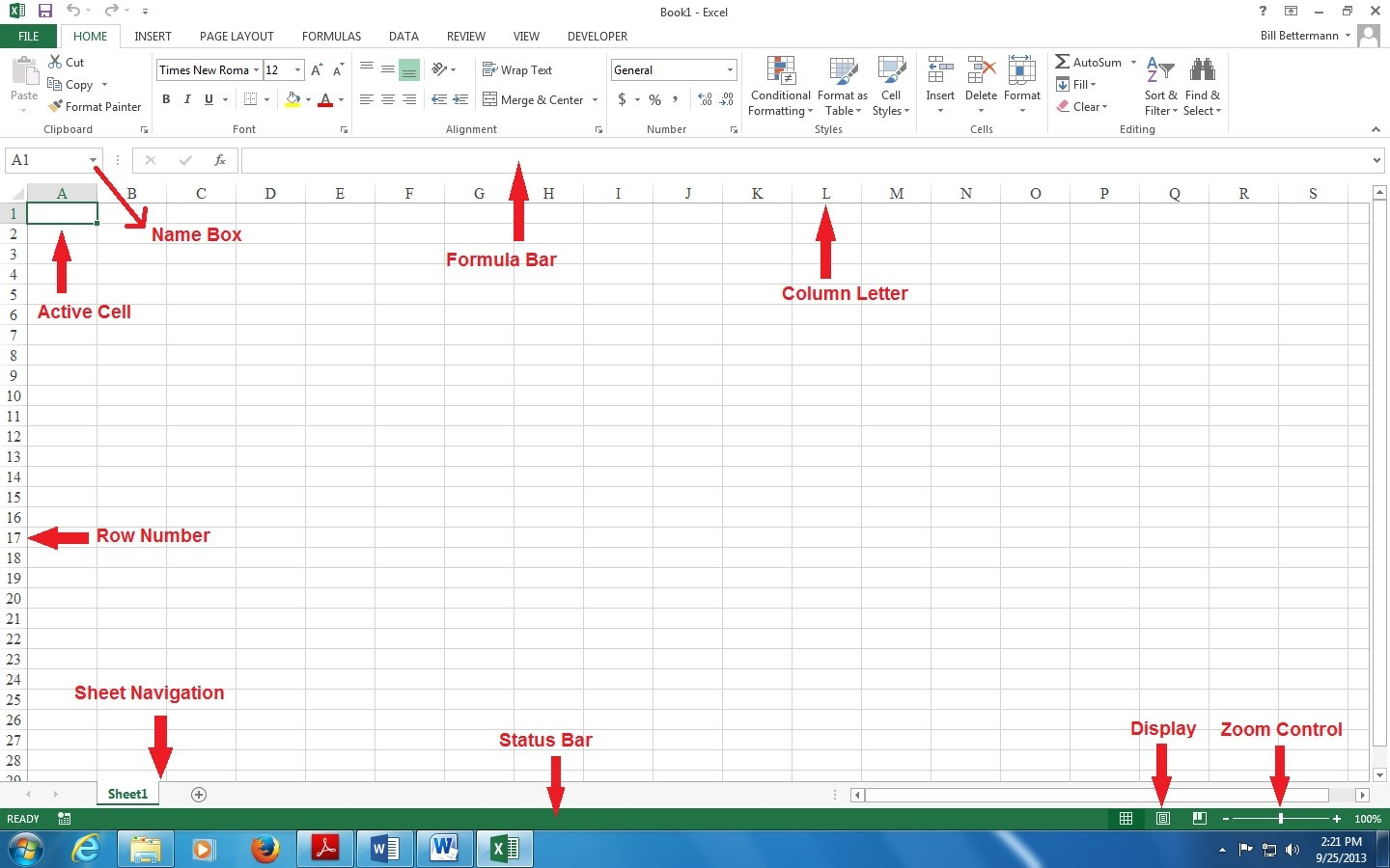 Microsoft Excel Basics Elements Of Excel Screen