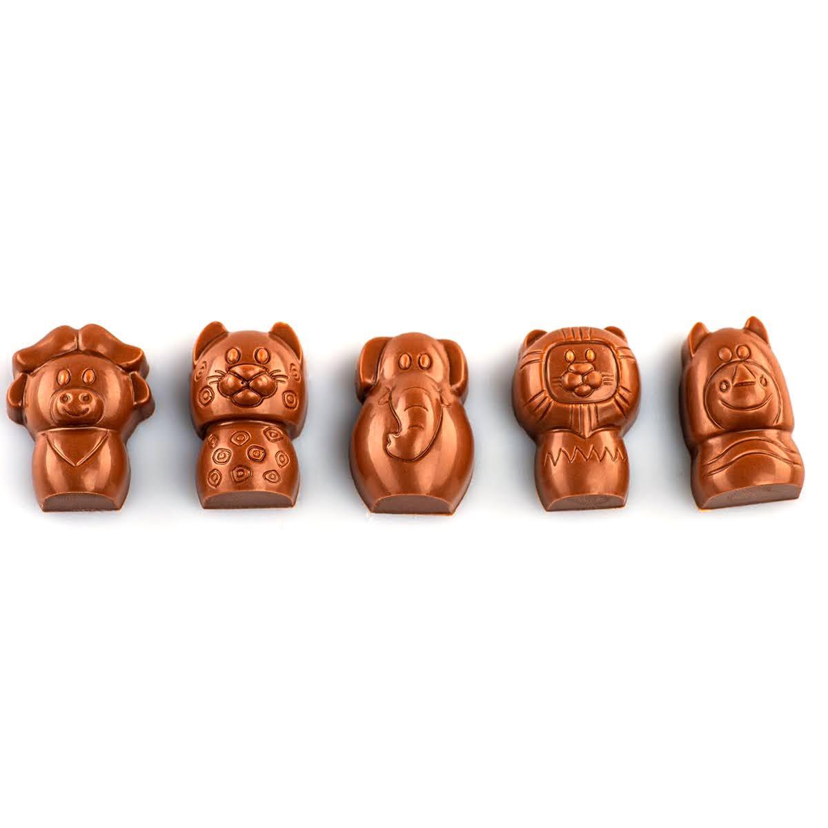 5 figurine de ciocolată în formă de animale.