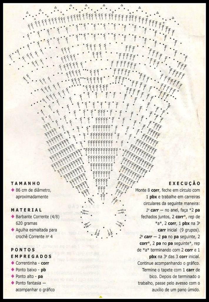 gráfico tapete redondo estrela 711x1024 - FAÇA VOCÊ MESMA LINDOS TRABALHOS EM CROCHÊ COM GRÁFICO