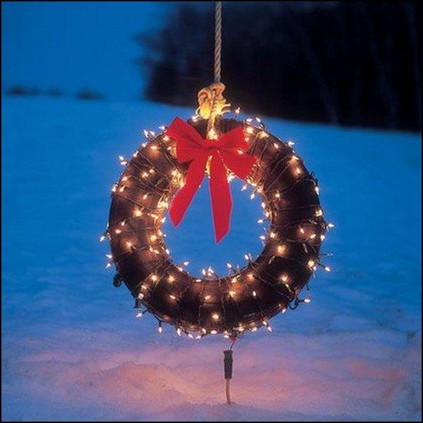 14 outdoor holiday wreath from a tire - COMO DECORAR GASTANDO POUCO COM PNEUS