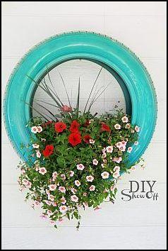 flores em pneus - COMO DECORAR GASTANDO POUCO COM PNEUS