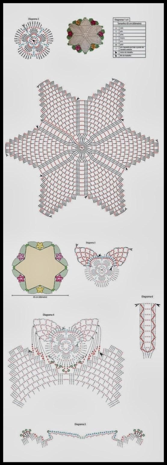 grafico tapete estrela 1 - LINDOS TAPETES DE CROCHÊ COM GRÁFICO