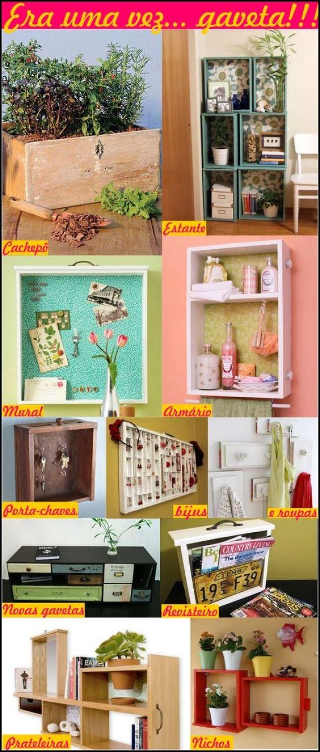 gavetas recicladas soumaisminhacasa.blogspot.com .com  - IDEIAS PARA DECORAR SUA CASA UTILIZANDO GAVETAS VELHAS