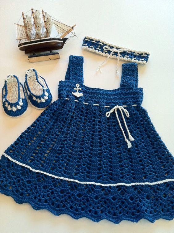 vestido azul marinho inf.com grafico - VÁRIOS MODELOS DE VESTIDOS INFANTIS DE CROCHÊ