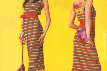 vestido colorido - VESTIDO COLORIDO DE CROCHÊ COM GRÁFICO