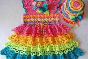 vestido infantil colorido - VÁRIOS MODELOS DE VESTIDOS INFANTIS DE CROCHÊ