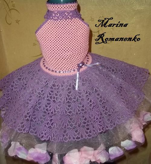 Vestido de croche infantil azul marinho