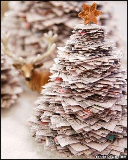 arvore de natal de papel 001 - ÁRVORES DE NATAL DIFERENTES E CRIATIVAS PARA DECORAR