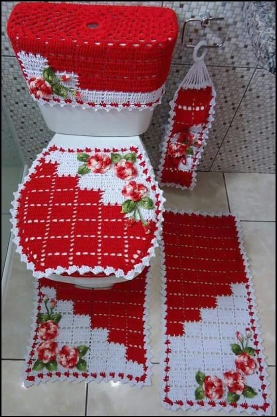 conjunto tapete para banheiro vermelho - MODELOS VARIADOS DE TAPETES COLORIDOS DE CROCHÊ