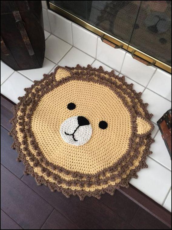 tapete crochê leão - MODELOS VARIADOS DE TAPETES COLORIDOS DE CROCHÊ