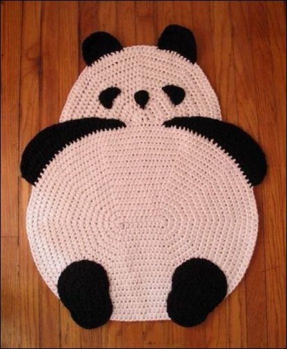 tapete crochê ursinho panda - MODELOS VARIADOS DE TAPETES COLORIDOS DE CROCHÊ