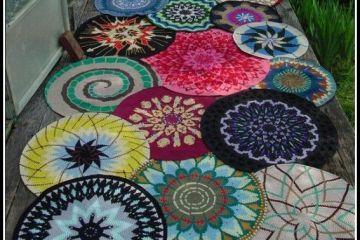 varios tapetes de croche - MODELOS VARIADOS DE TAPETES COLORIDOS DE CROCHÊ