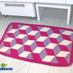 tapete cubo croche euroroma rosa e1534213096562 - TAPETE 3D COM GRÁFICO, PASSO A PASSO E VÍDEO AULA