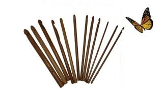 Agulha de crochê de bambu