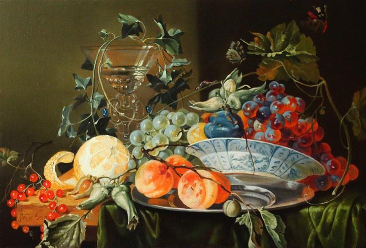 """Свободная копия Ян Давидс де Хем (1606-1683) """"Натюрморт с кубком, бабочкой, лимоном и виноградом"""" 1652г. холст, масло 40х60см 2015г."""