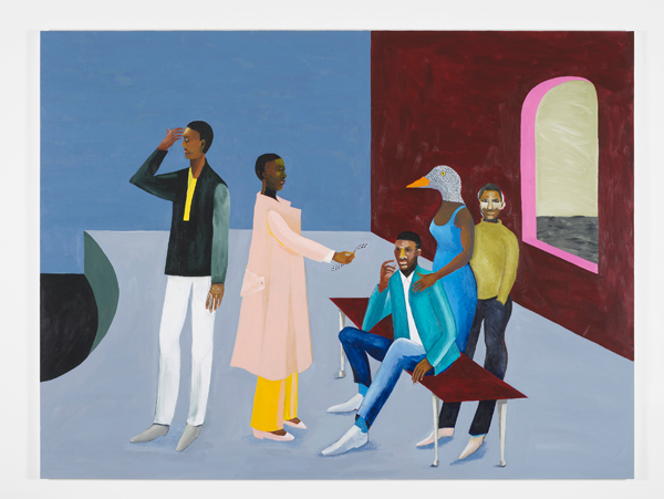 Lubaina Himid - Le Rodeur: The Exchange, 2016. Acrylic on canvas, 183 x 244 cm. Photo: Andy Keale