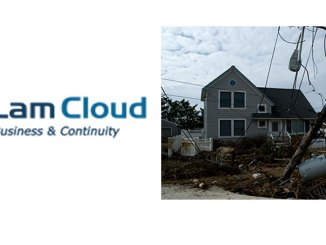Image (right) of the damage caused on Long Beach Island by Superstorm Sandy, and Lam Cloud corporate logo.