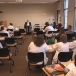 "Dr. Dan Gottlieb and audience of healthcare professionals at his May 1, 2014 ""Schwartz Rounds"" lecture at Virtua Health, Voorhees, NJ."