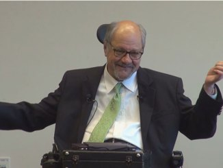 """Dr. Dan Gottlieb makes a point during his May 1, 2014 """"Schwartz Rounds"""" lecture at Virtua Health System, Voorhees, NJ, about the experience of receiving care from healthcare professionals."""
