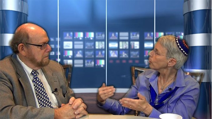Rabbi Richard Address, left, interviews Rabbi Sue Levi Elwell on Conversations, his new web-based TV program, being produced in Lubetkin Media Companies' Cherry Hill studios.