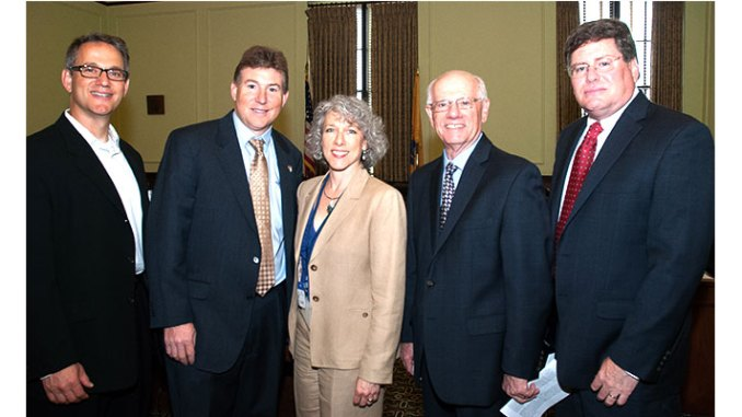 Among those at the briefing were (from left), Jeff Shacket, JCRC Executive Committee member and co-chair of its Government Affairs Committee; David Snyder, executive director, Jewish Community Relations Council of Southern New Jersey; Lori Price Abrams, vice president, MWW Public Relations; Jacob Toporek, executive director of the New Jersey State Association of Jewish Federations; and Harry Horwitz, member of the board of directors of the Jewish Federation of Southern New Jersey.
