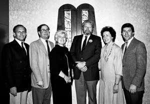 Theodore Bikel's first visit to Temple Emanuel, Cherry Hill, NJ, in 1984, as part of the synagogue's 35th anniversary year celebration. From left: Rabbi Edwin N. Soslow; synagogue president Lee Hymerling; Shirley Chess; Bikel; Eileen Friedland; and Rabbi Jerome P. David. (Photo copyright ©1984, 2015 Steven L. Lubetkin. All rights reserved.)