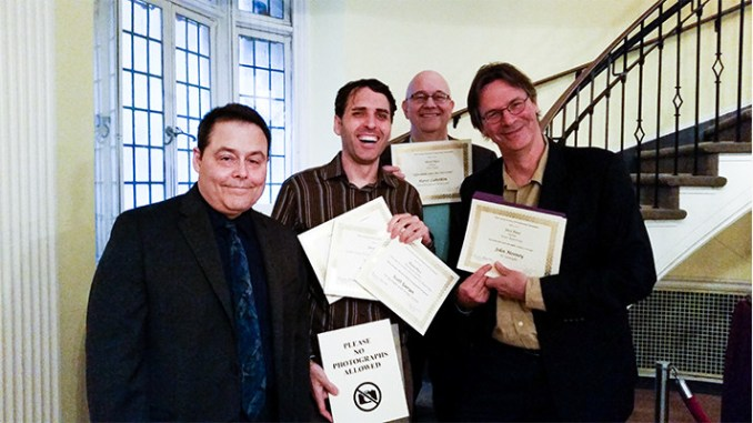 Members of the NJSpotlight.com team celebrate their awards from the New Jersey Chapter of the Society for Professional Journalists. From left: Robert Schapiro, president of NJ-SPJ; Scott Gurian, Superstorm Sandy Reporter for NJSpotlight.com; Steve Lubetkin, ACA videojournalist; and John Mooney, founding editor of NJSpotlight.com.