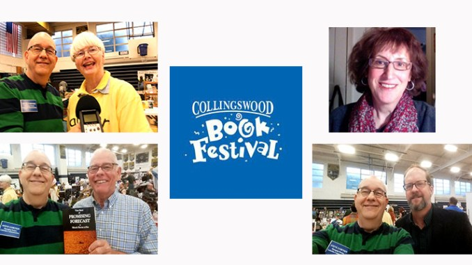 Featured interviews from the Collingswood (NJ) Book Festival include (clockwise from left): children's book author Alice Mohor; book festival founder and organizer Michele Zeldner, author Joe Samuel Starnes; and author Daniel David Jones, who survived 18 hours in the ocean with just a life vest.