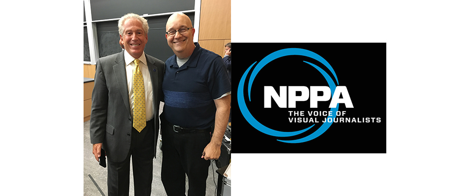 Mickey Osterreicher, left, general counsel, NPPA, with podcaster Steve Lubetkin. (Shelly Lubetkin photo. Used by permission.)