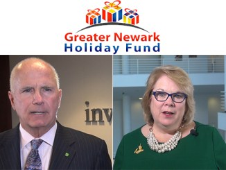 Kevin Cummings, president and CEO, Investors Bank, and Kathleen Boozas, dean of the Seton Hall University Law School, are featured in this year's Greater Newark Holiday Fund public service announcement. It's the third year The Lubetkin Media Companies has produced the video for the Fund.