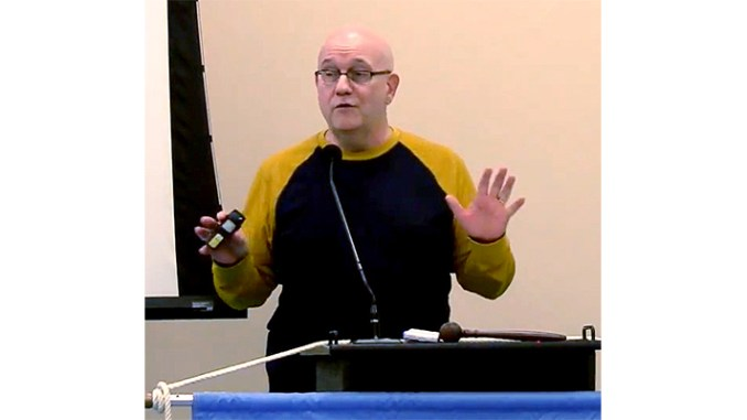 Steve speaking at the December 2016 South Jersey Men's Club meeting.