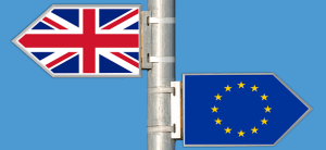 UK EU flag opposite directions signs