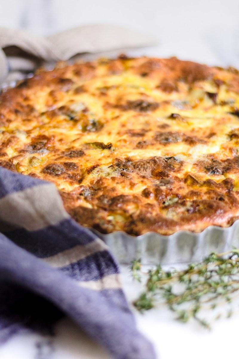 Quiche de aveia com recheio de abóbora assada e gorgonzola
