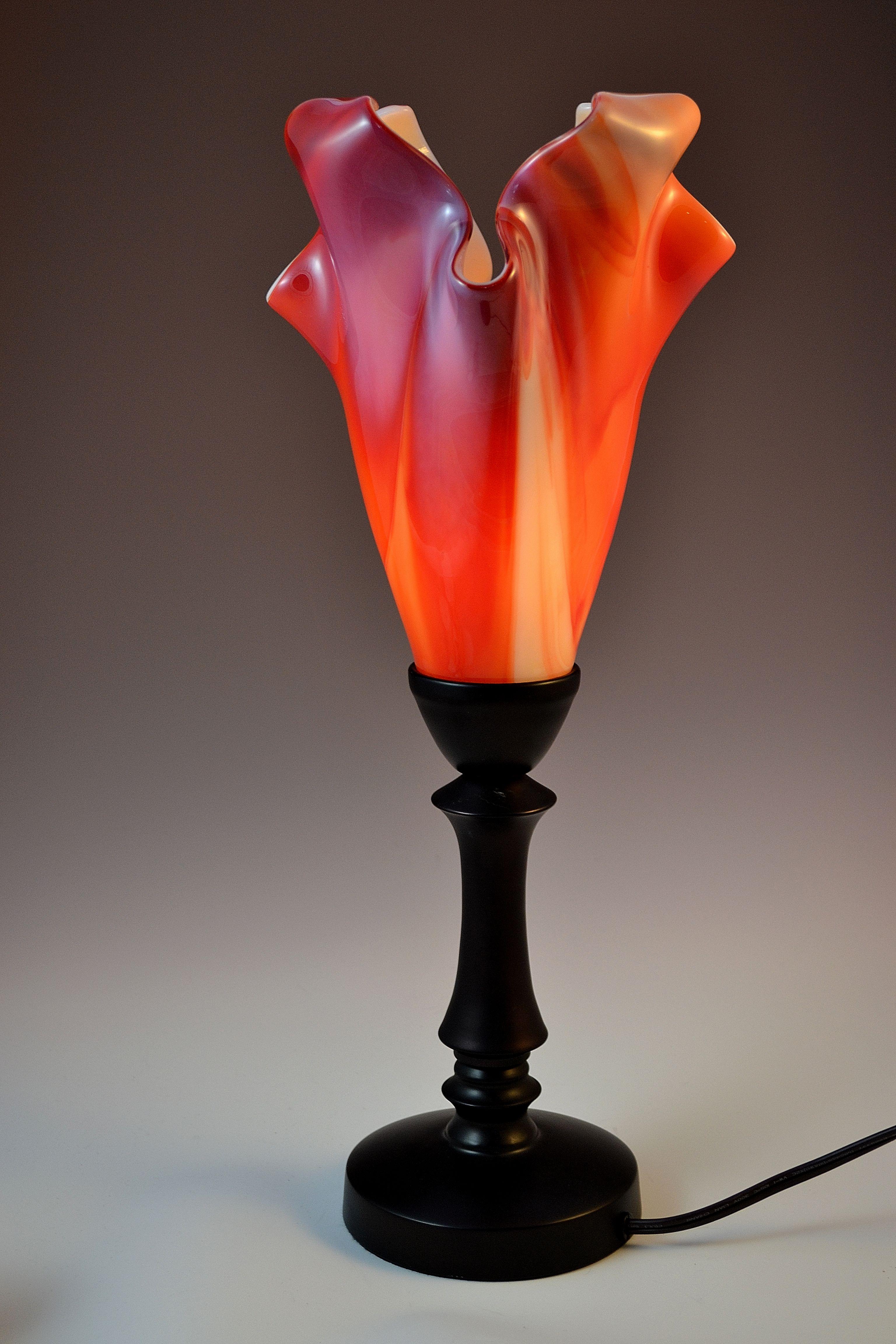 Lucas Krenzin Fused Glass Art 187 Abstract Orange Table Lamp