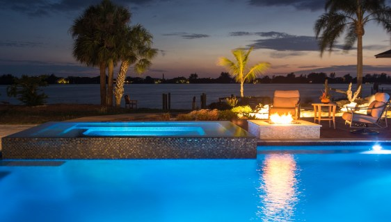 Deck, Fire Pit, Custom Spa and Custom Pools in Osprey, Florida