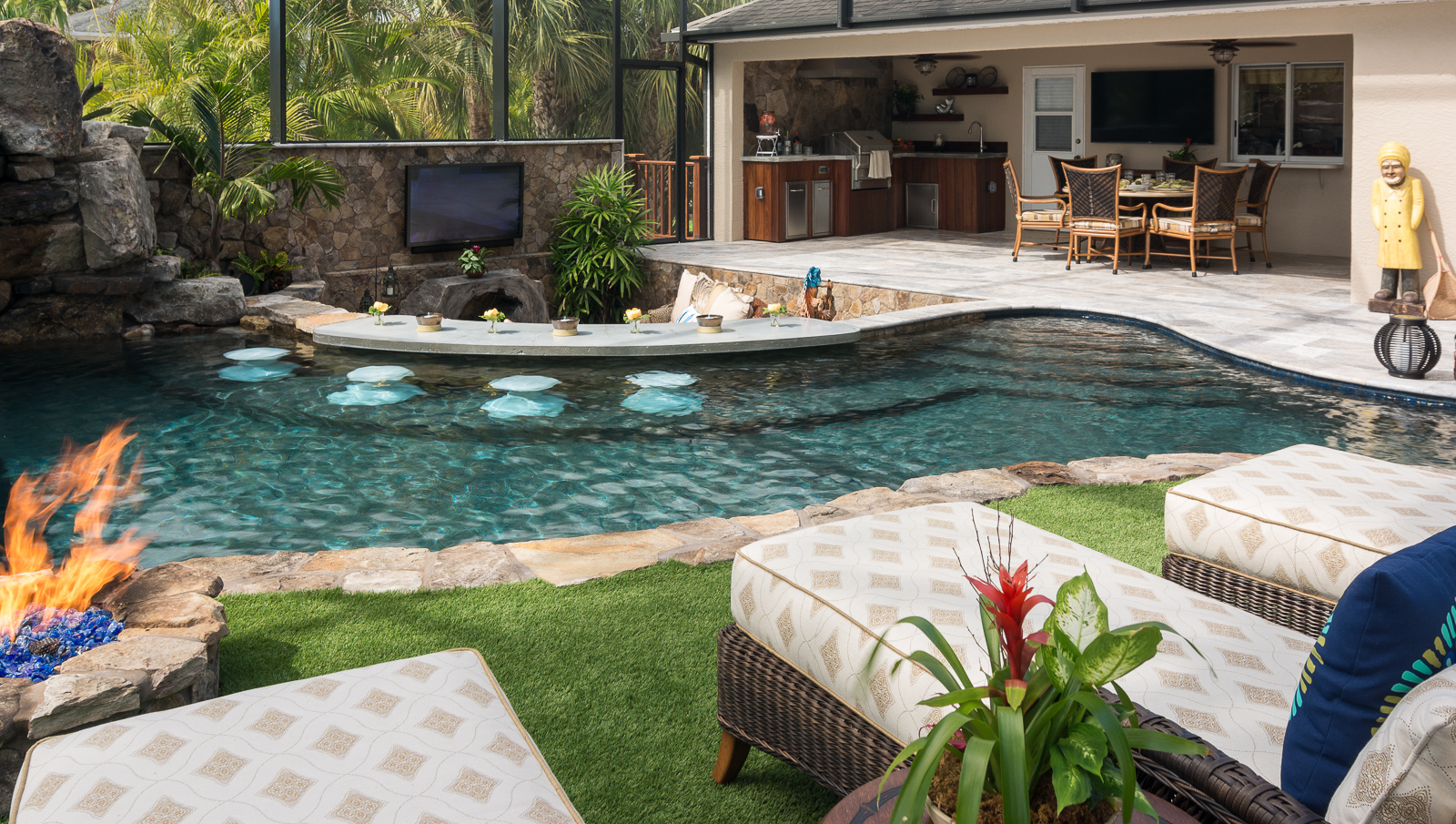 Lazy River Lucas Lagoons Custom Pool Fire Pit