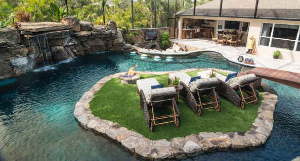 Lucas Lagoons Custom pool river and island