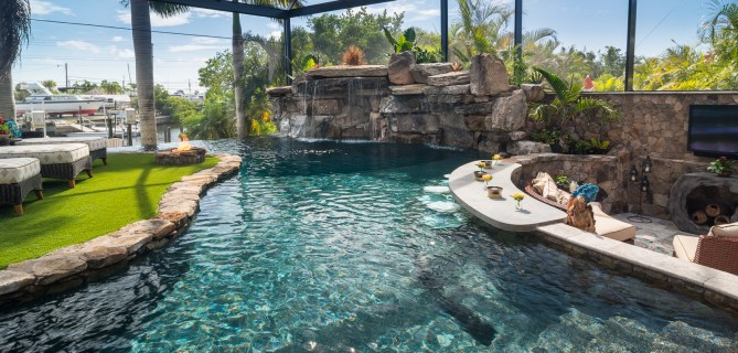 Lazy River Lucas Lagoons Custom swim up bar