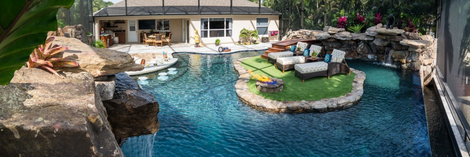 Lazy River Lucas Lagoons Custom pool on Pine Island overview