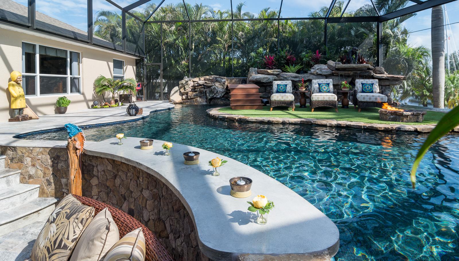 Lucas Lagoons Pine Island Outdoor Living Area And Swim Up Bar