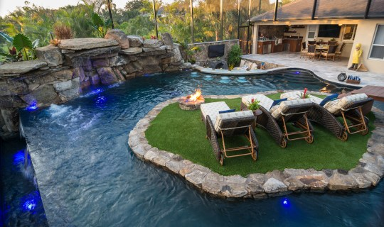 Lazy River Lucas Lagoons Custom pool on Pine Island river and island