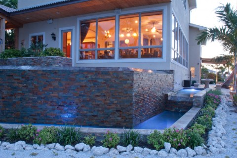 Spillway and modern waterfall pool